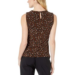 Tommy Hilfiger Coffee Multi Animal Print Bead Neck Knit Top - Thumbnail