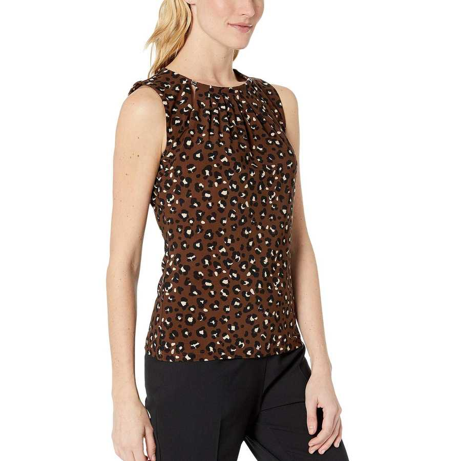 Tommy Hilfiger Coffee Multi Animal Print Bead Neck Knit Top