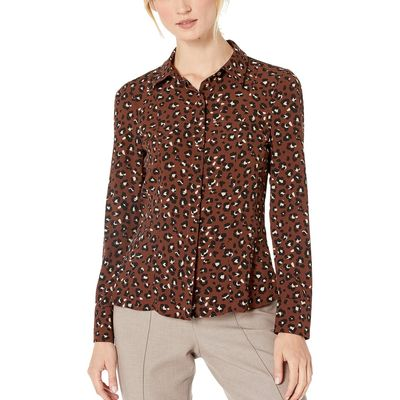 Tommy Hilfiger - Tommy Hilfiger Coffee Multi Mixed Media Leopard Long Sleeve Top