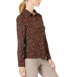 Tommy Hilfiger Coffee Multi Mixed Media Leopard Long Sleeve Top - Thumbnail