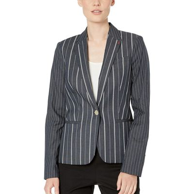 Tommy Hilfiger - Tommy Hilfiger Indigo/Ivory Stripe One-Button Jacket