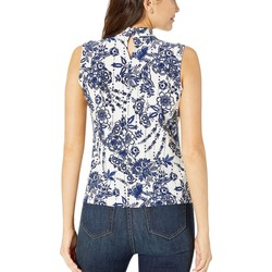 Tommy Hilfiger Ivory Multi Floral Knot Neck Knit Top - Thumbnail