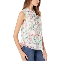 Tommy Hilfiger Ivory Multi Floral Ruffle Front Sleeeveless Woven Blouse - Thumbnail