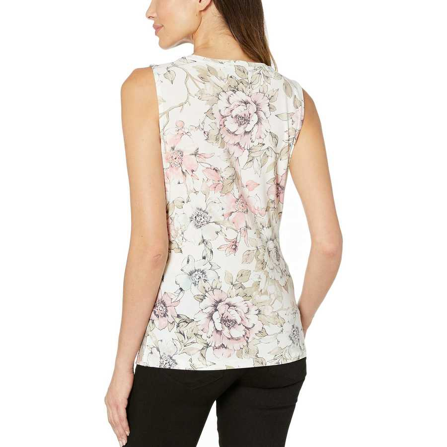 Tommy Hilfiger Ivory Multi Floral Waist Tie Sleeveless Knit Top