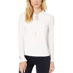 Tommy Hilfiger Ivory Ruffle Long Sleeve Knit Top - Thumbnail