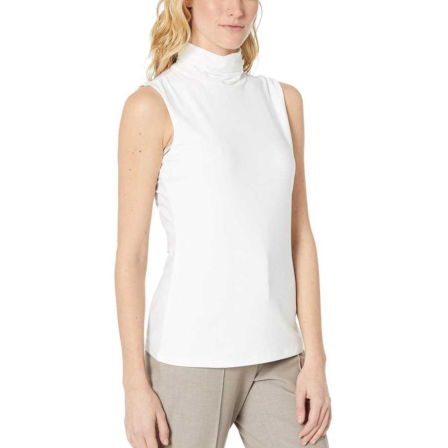 Tommy Hilfiger Ivory Turtleneck Sleeveless Knit Top