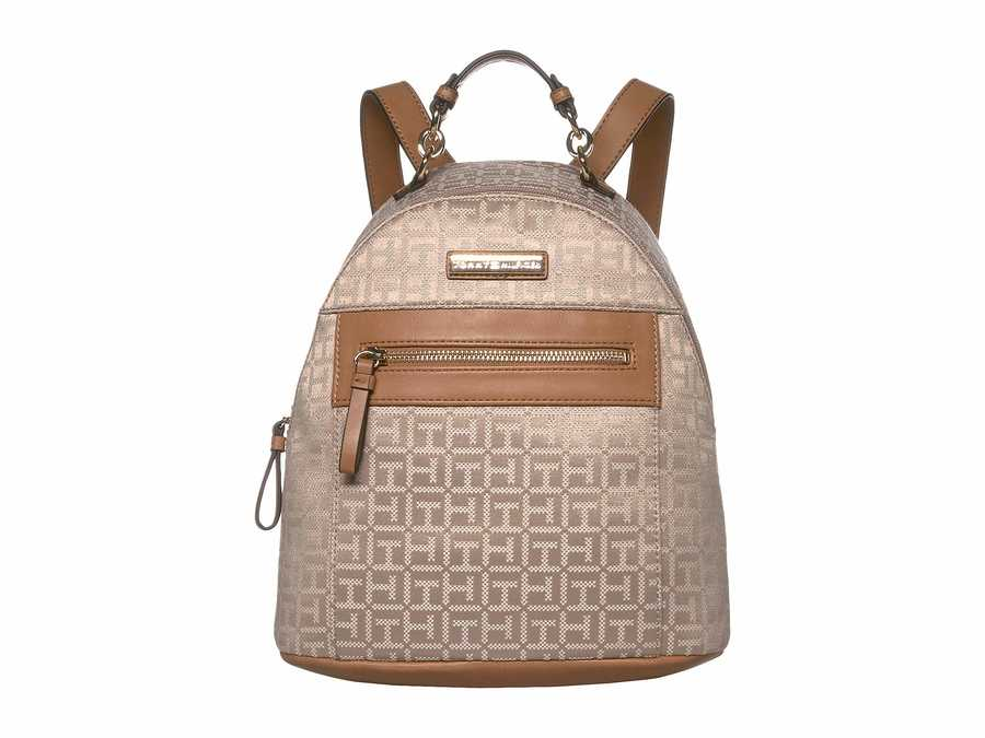 Tommy Hilfiger Khaki Tonal Claudia Jacquard Dome Backpack