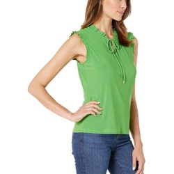 Tommy Hilfiger Leaf Tie Neck Ruffle Trim Sleeveless Knit Top - Thumbnail