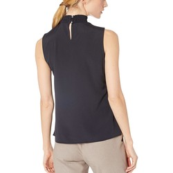 Tommy Hilfiger Midnight Mock Neck Sleeveless Woven Top - Thumbnail