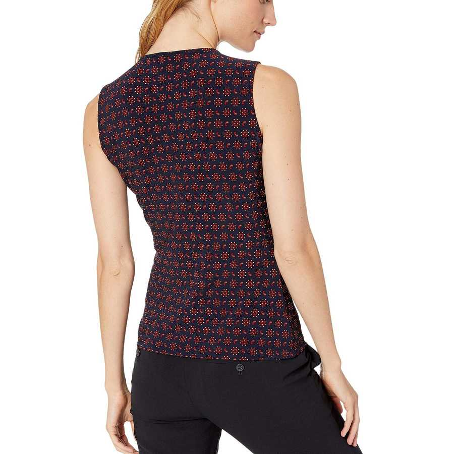 Tommy Hilfiger Midnight Multi Paisley Gromet Knit Top