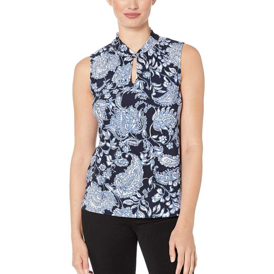 Tommy Hilfiger Midnight Multi Paisley Twist Neck Sleeveless Knit Top