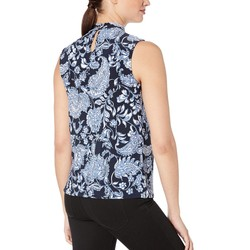Tommy Hilfiger Midnight Multi Paisley Twist Neck Sleeveless Knit Top - Thumbnail