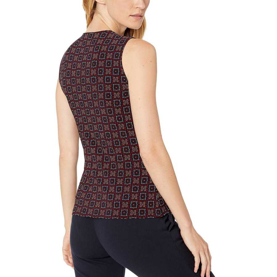 Tommy Hilfiger Midnight Multi Printed Gromet Knit Top
