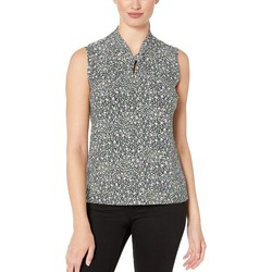 Tommy Hilfiger Midnight Multi Printed Knot Neck Sleeveless Knit Top - Thumbnail
