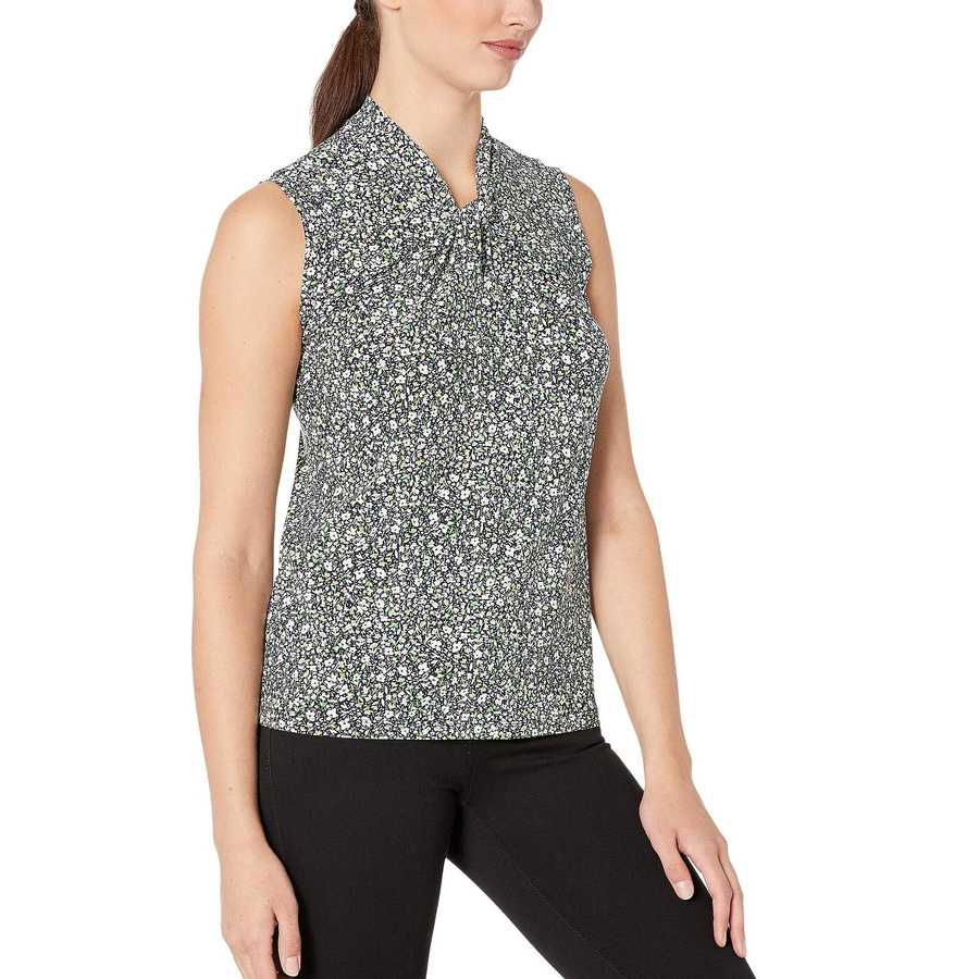 Tommy Hilfiger Midnight Multi Printed Knot Neck Sleeveless Knit Top
