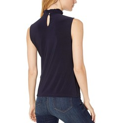 Tommy Hilfiger Midnight Ruffle Centerfront Mock Neck Knit Top - Thumbnail