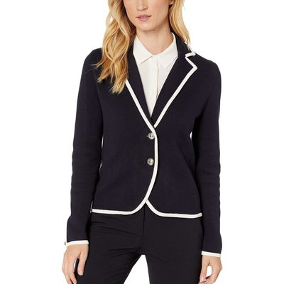 Tommy Hilfiger - Tommy Hilfiger Midnight/Ivory Piped Knit Two-Button Sweater Blazer