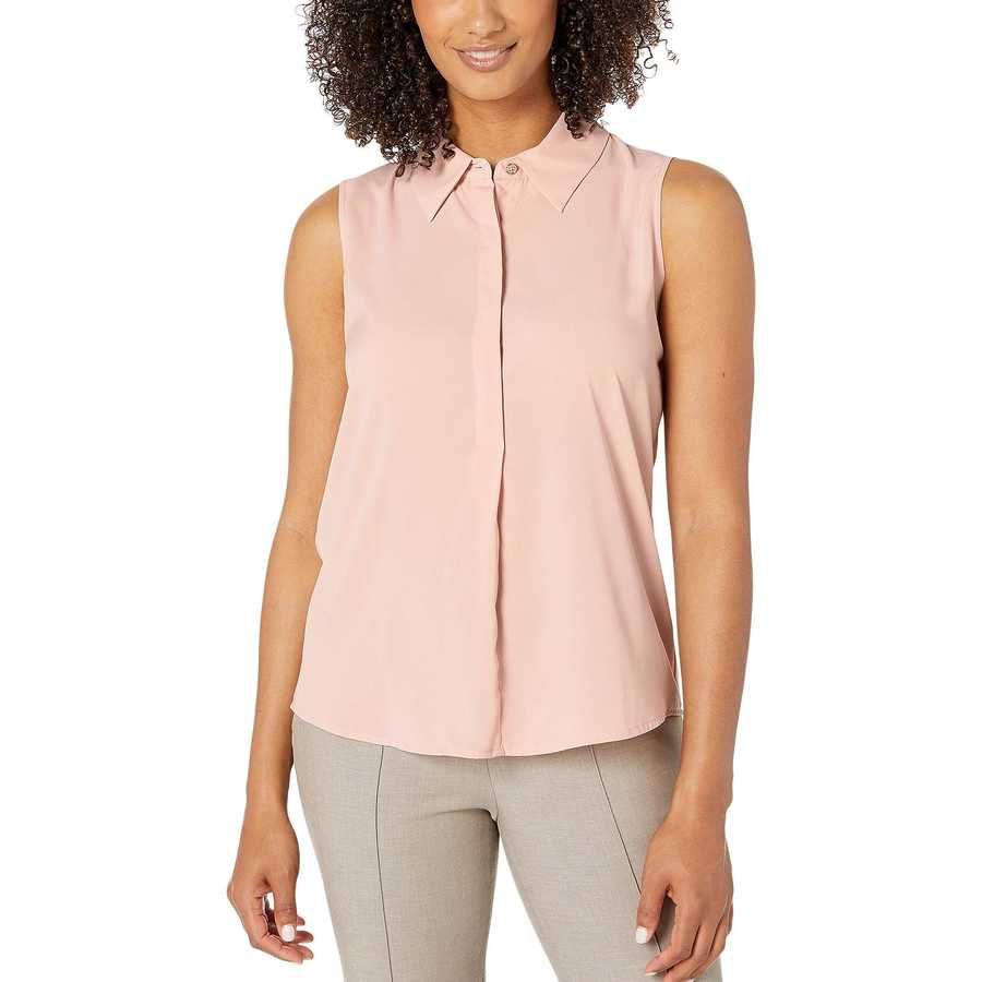 Tommy Hilfiger Pink Sand Half Placket Sleeveless Woven