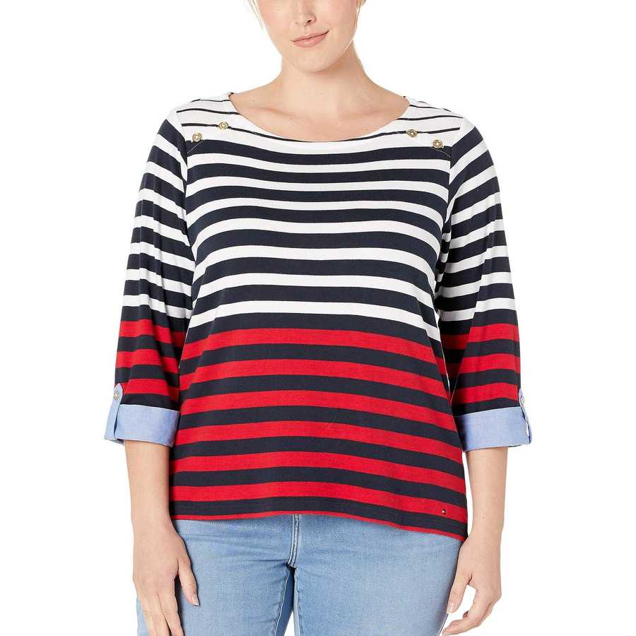 Tommy Hilfiger Sky Captain Combo Plus Size Stripe Ainsley Tee