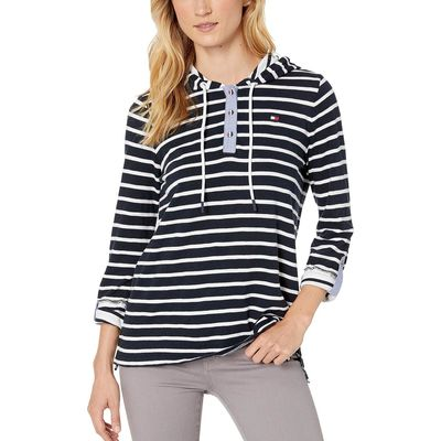 Tommy Hilfiger - Tommy Hilfiger Sky Captain/Bright White Stripe Hoodie Popover Top