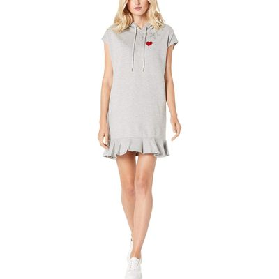 Tommy Hilfiger - Tommy Hilfiger Stone Grey Heather Short Sleeve Peplum Hooded Dress