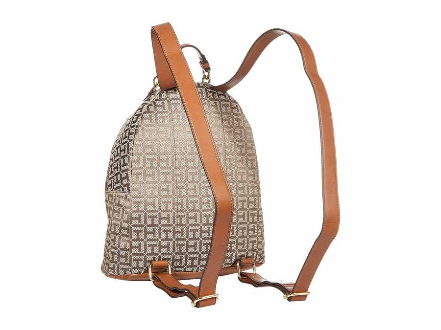 Tommy Hilfiger Tan Dark Chocolate Claudia Jacquard Dome Backpack