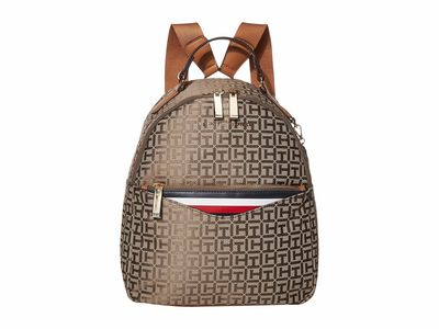Tommy Hilfiger - Tommy Hilfiger Tan Dark Chocolate Walker Jacquard Backpack