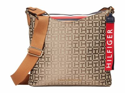 Tommy Hilfiger - Tommy Hilfiger Tan Dark Chocolate Walker Jacquard Cross Body Bag