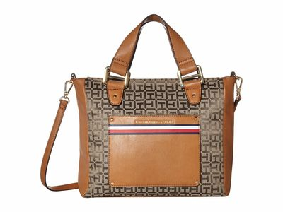 Tommy Hilfiger - Tommy Hilfiger Tan/Dark Chocolate Mari Convertible Satchel Handbag