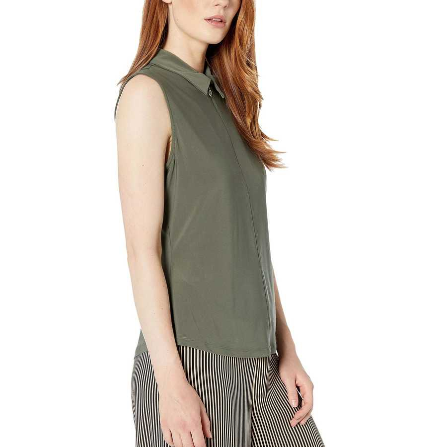 Tommy Hilfiger Thyme Logo Zip Sleeveless Knit Top