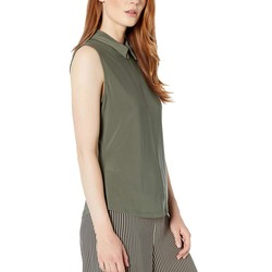 Tommy Hilfiger Thyme Logo Zip Sleeveless Knit Top - Thumbnail