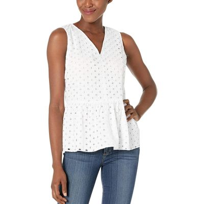 Tommy Hilfiger - Tommy Hilfiger White Eyeley Peplum Sleeveless Blouse
