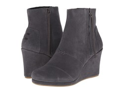 Toms Women Dark Grey Suede Desert Wedge High Ankle Bootsbooties - Thumbnail