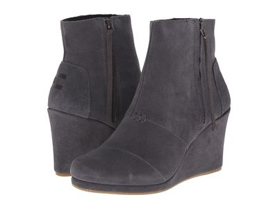 Toms Women Dark Grey Suede Desert Wedge High Ankle Bootsbooties