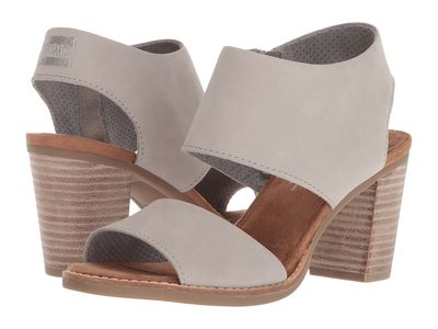 Toms - Toms Women Drizzle Grey Leather Majorca Cutout Sandal Heeled Sandals