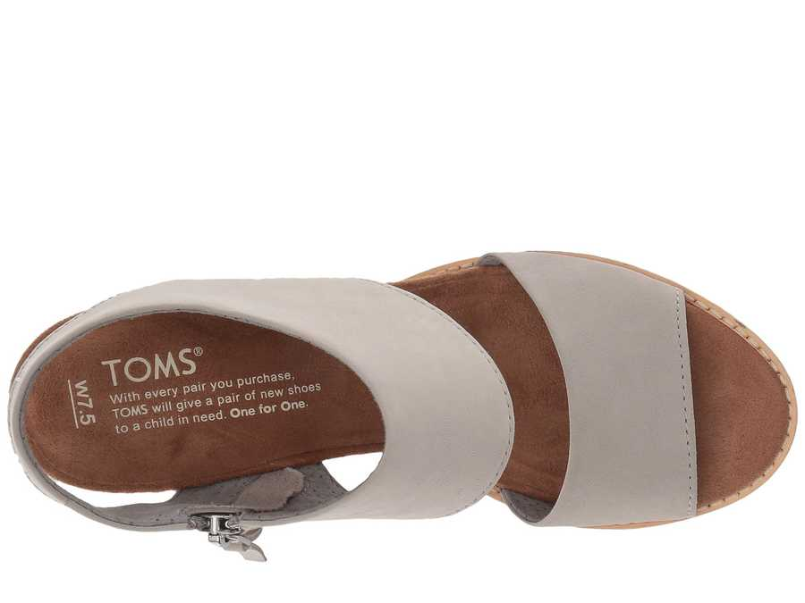 Toms Women Drizzle Grey Leather Majorca Cutout Sandal Heeled Sandals