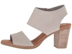 Toms Women Drizzle Grey Leather Majorca Cutout Sandal Heeled Sandals - Thumbnail