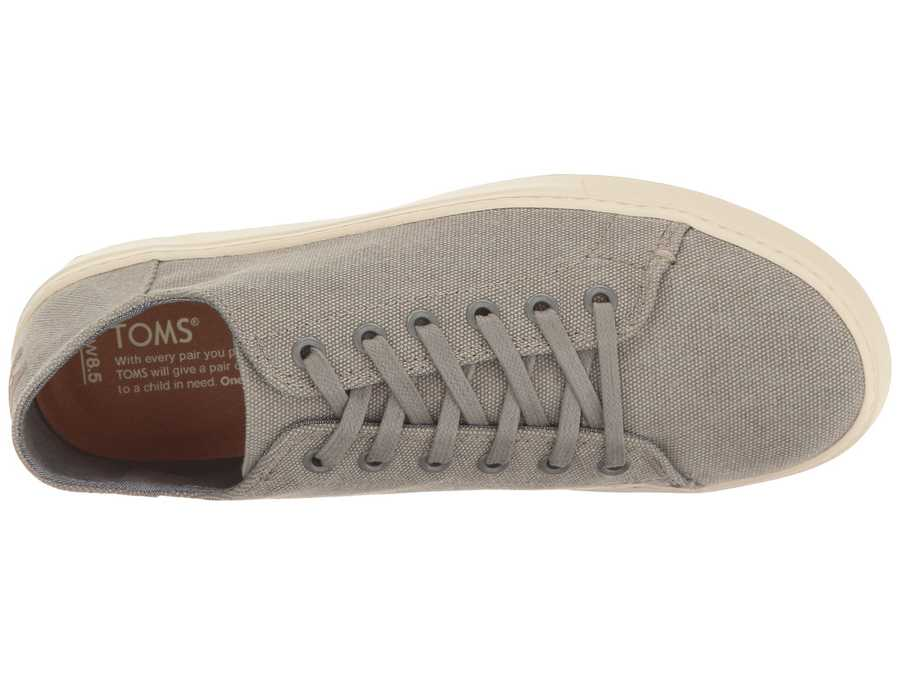 Toms Women Drizzle Grey Washed Canvas Lenox Sneaker Lifestyle Sneakers