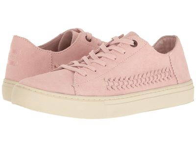 Toms - Toms Women Pale Pink Deconstructed Suede/Woven Panel Lenox Sneaker Lifestyle Sneakers