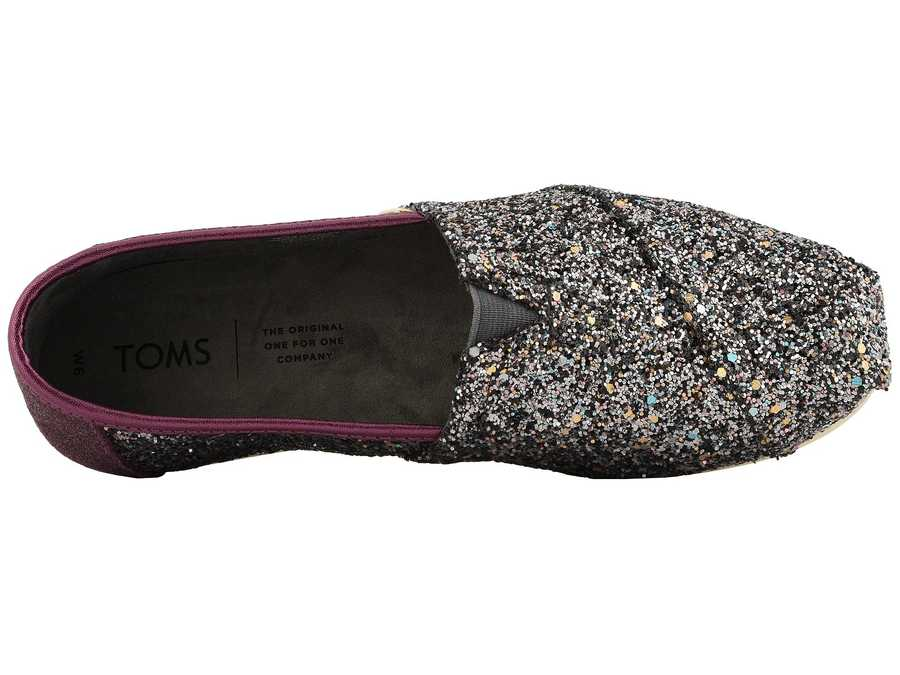 Toms Women Pewter Party Glitter (Vegan) Alpargata Loafers