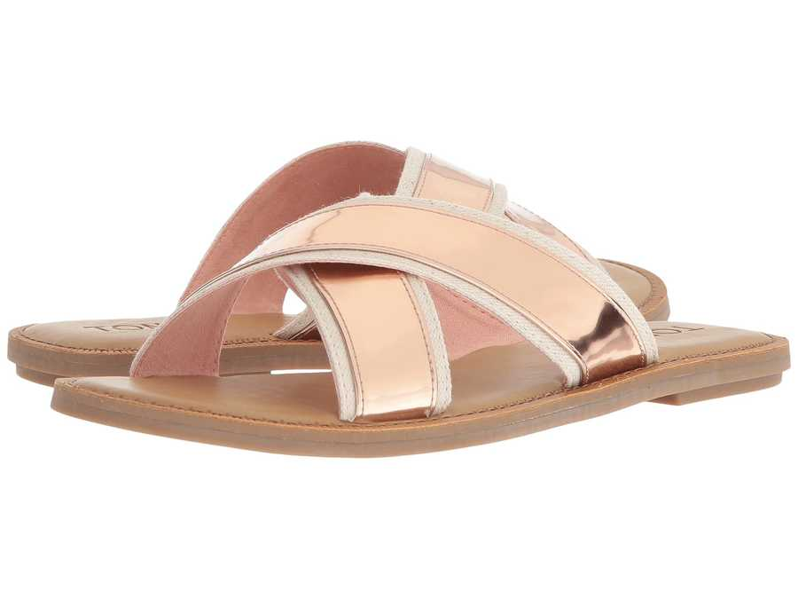 Toms Women Rose Gold Specchio Viv Flat Sandals