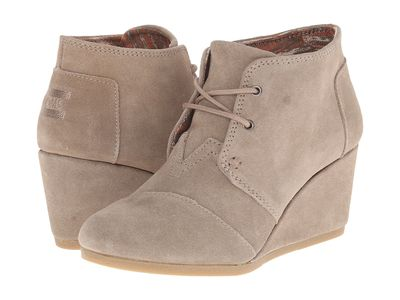 Toms - Toms Women Taupe Suede Desert Wedge Ankle Bootsbooties