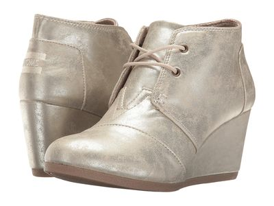 Toms - Toms Women White Gold Metallic Synthetic Leather Desert Wedge Ankle Bootsbooties