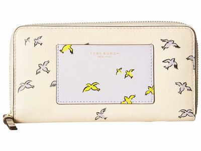 Tory Burch - Tory Burch İvory Early Bird Printed Tassel Zip Continental Wallet Checkbook Wallet
