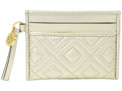 Tory Burch - Tory Burch White/Gold Fleming Metallic Slim Coin Card Case