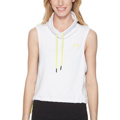 Under Armour - Under Armour White/White/Tokyo Lemon Featherweight Fleece Sleeveless Funnel Neck