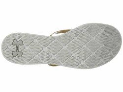 Under Armour Women's Ghost Gray Ivory Metallic Victory Gold Lakeshore Drive II T Flip Flops - Thumbnail