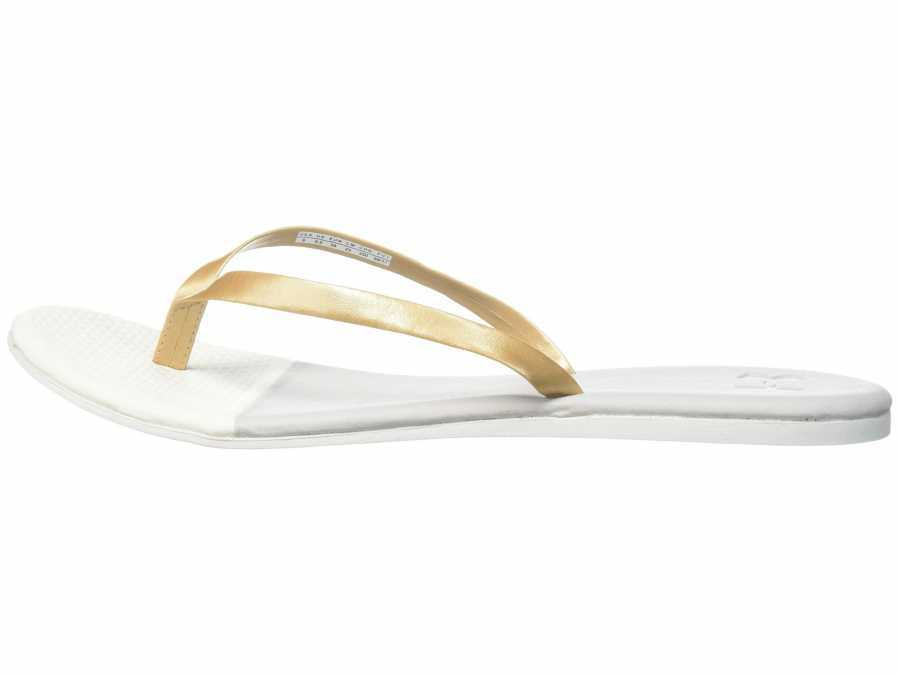 Under Armour Women's Ghost Gray Ivory Metallic Victory Gold Lakeshore Drive II T Flip Flops