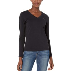 U.S. Polo Assn. Anthracite Solid Long Sleeve Stretch Tee - Thumbnail
