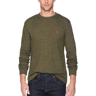 U.S. Polo Assn. Army Heather Long Sleeve Crew Neck Solid Thermal Shirt